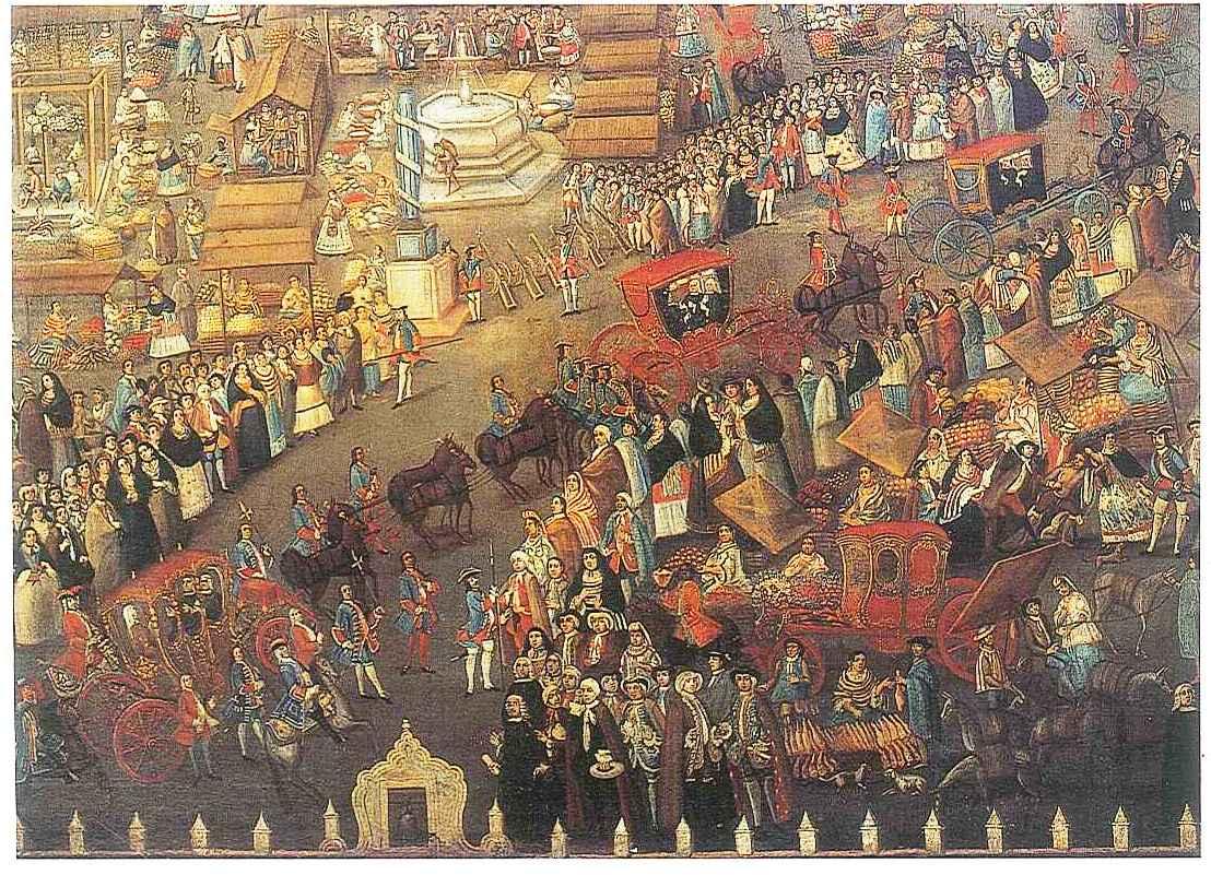 Plaza Mayor de México, detalle, atrib. Juan Antonio Prado (XVIII)